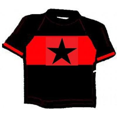 ESTRELLA NEGRA, confección negra con franja central roja 100